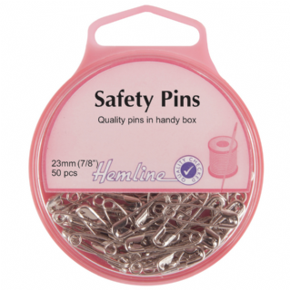 Hemline Safety Pins - 23mm long - Nickel - 50 pack